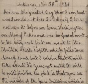 November 30, 1861 entry in Maximilian Hartman's diary