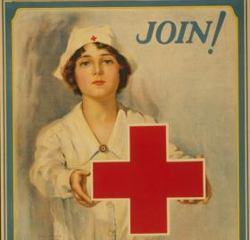 Advertisement poster for the American Red Cross circa. 1914-1918 (Source: Library of Congress)