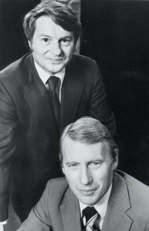 Robert MacNeil and Jim Lehrer worked all-hours in the summer of 1973 hosting public television's coverage of the Senate Watergate hearings from the WETA studios in Shirlington. (Photo source: WETA Archives)