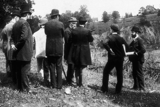 National Zoo planners survey lands near Rock Creek. (Photo source: Smithsonian Archives)