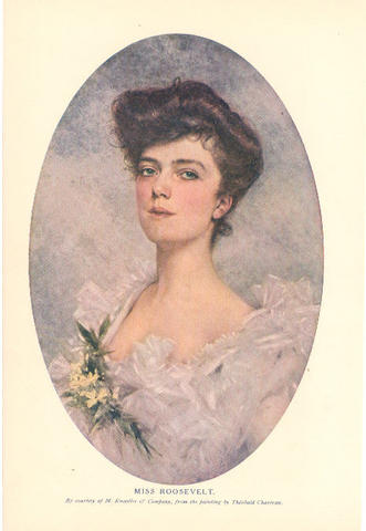 Alice Roosevelt's formal portrait by the classical French academic painter, Théobald Chartran. (Photo source: Wikipedia)
