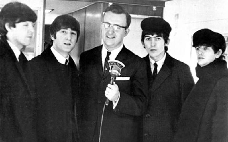 WWDC radio DJ Carroll James with the Beatles in Washington. (Photo credit: George McCloskey)