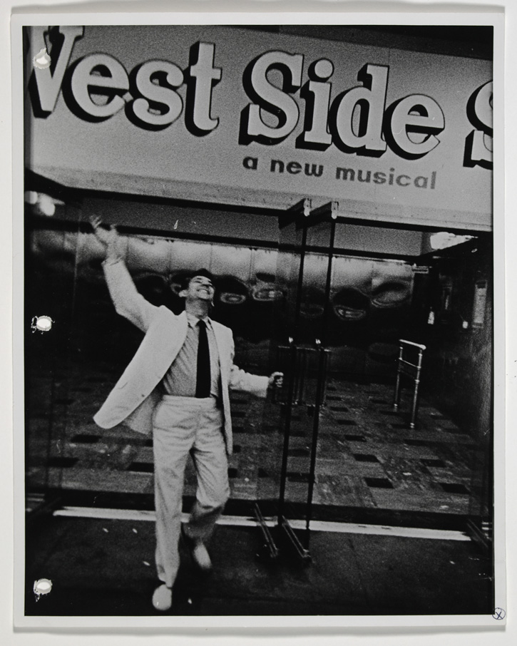 Bernstein exits The National Theatre after the premiere of West Side Story.