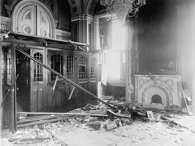 An bomb explosion in the U.S. Capitol on July 2, 1915 caused significant damage. (Photo source: Library of Congress)
