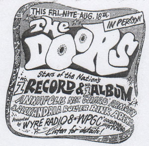 Poster advertising August 18, 1967 concert by The Doors in Annapolis and Alexandria. (Photo source: Ebay)