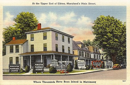 Postcard showing wedding chapel in Elkton, Maryland. (Source: Ad Astra blog by Charles Leck)