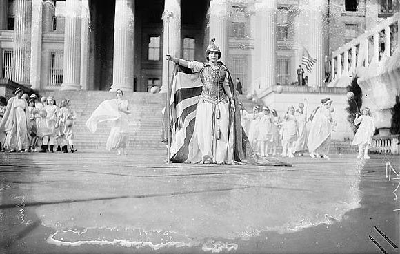 Florence F. Noyes dressed as Liberty in 1913 Women's Suffrage march in Washington, D.C. (Photo source: Library of Congress)