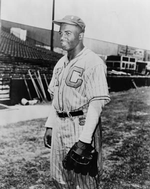 Jackie Robinson tied a National Negro League record by going 7 for 7 at the plate in a June 24, 1945 game against the Homestead Grays in Washington. (Photo source: Library of Congress, American Memory)