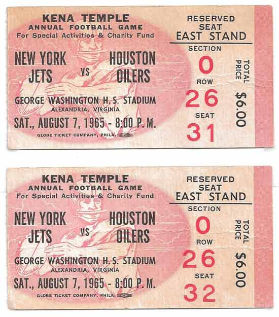 Ticket stubs from August 7, 1965 game between the New York Jets and Houston Oilers at George Washington High School. (Source: Doug Garthoff)