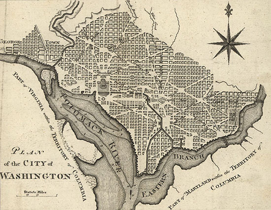 Pierre L'Enfant's Plan for the City of Washington (Source: Library of Congress)