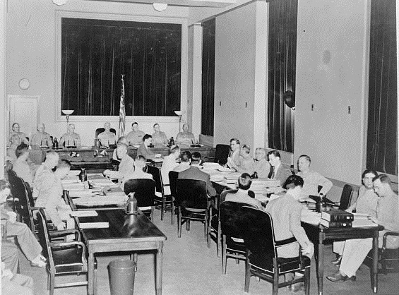 The Nazi Saboteur trial taking place in a converted Department of Justice room, 1942. (Photo source: Library of Congress)