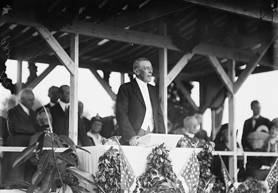 President Wilson kept his remarks brief and made a hasty exit as the clouds, wind and rain rolled in. (Photo source: Libary of Congress)