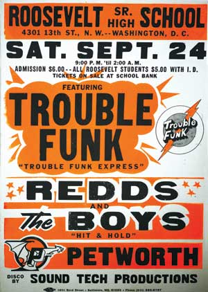 Trouble Funk poster from Corcoran's Pump Me Up exhibit. (Photo source: Corcoran website)