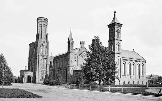 The Smithsonian Institution Castle as it appeared c.1870. (Photo source: Brady-Handy Photograph Collection at Library of Congress.)