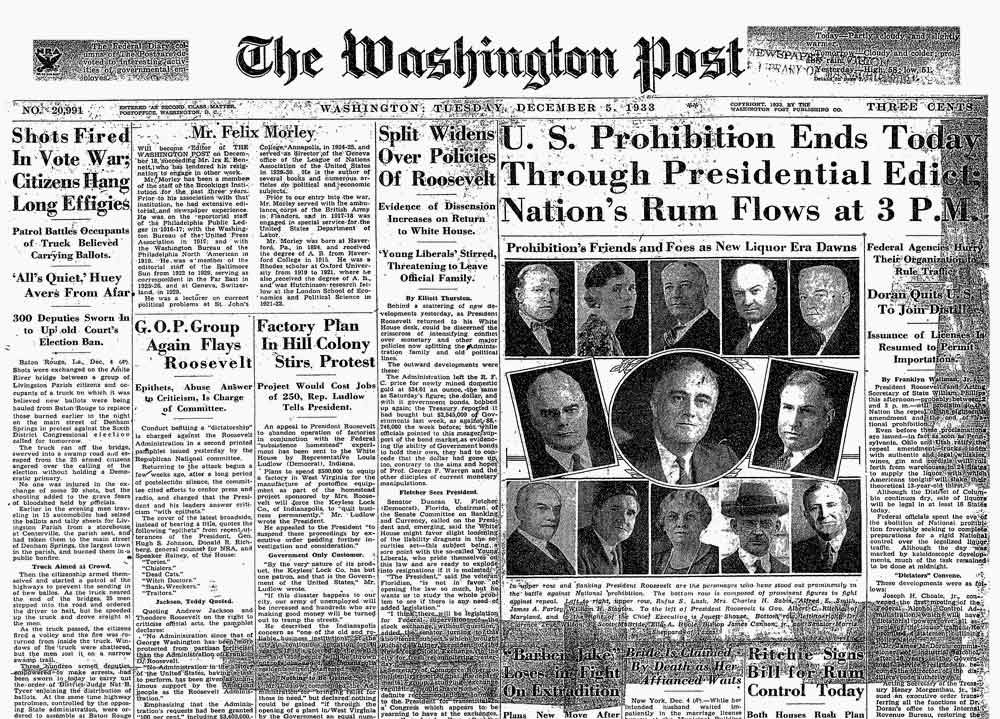 The Washington Post reports the repeal of Prohibition on December 5, 1933.