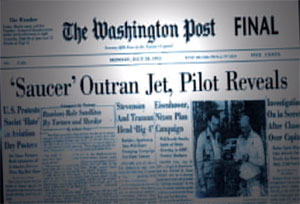 Washington Post headline: Saucer Outran Jet, Pilot Reveals