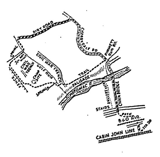 An original drawing by Shosteck outlining the trail followed on the Wanderbirds' first hike in 1934. (Photo source: Wanderbirds Hiking Club)