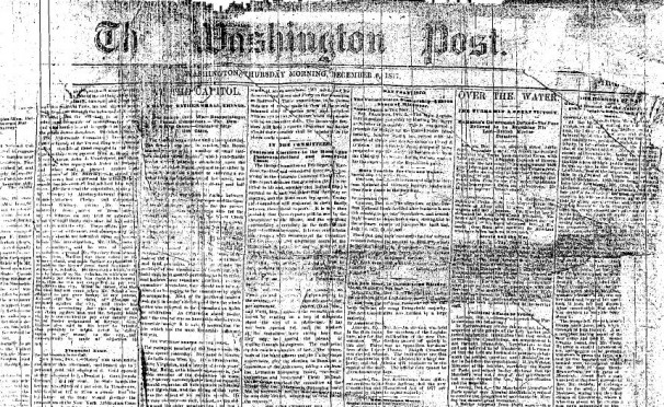 The front page of The Washington Post's first issue, published Thursday, December 6, 1877. (Photo source: Washingtonpost.com)