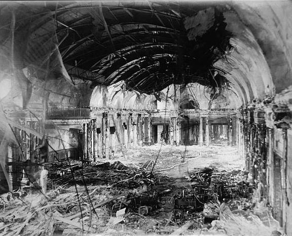 The recently renovated ballroom of the Willard Hotel was destroyed by fire on April 23, 1922. Looks like the decade wasn't the only thing that was roaring. (Photo source: Library of Congress