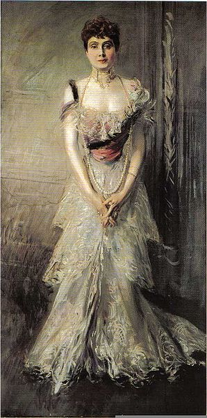 An 1898 portrait of the Infanta by Giovanni Boldini. What, did you think we were going to post a picture of the scandlous dres? This is a family blog! Also, we couldn't find ANY. (Source: Wikicommons)