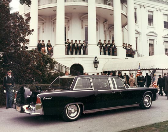 Refurbished Presidential limosine outside the White House in 1965. (Source: flickr user That Hartford Guy via Creative Commons license.)