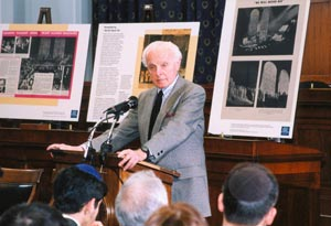The late Tom Lantos attended the Jewish Historical Society's commemoration of the pageant's 60th anniversary on Capitol Hill in 2003. Lantos was the only Holocaust survivor to serve in Congress. (Photo source: Jewish Historical Society of Greater Washington)