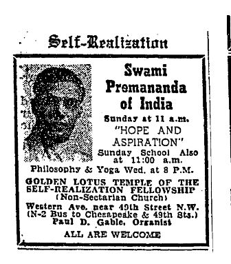 Washington Post ad for Swami Premananda of India. In 1955, reclusive author J.D. Salinger and his wife traveled to Washington in hopes the Swami could guide them in their search for enlightenment.  (Photo source: Washington Post)