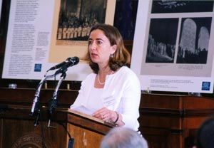 Sixty years after the Washington performance, Bergson's daughter Professor Rebecca Kook appeared on Capitol Hill as part of a special Jewish Historical Society event, reading his words that urged local Washington to act. (Photo source: Jewish Historical Society of Greater Washington)