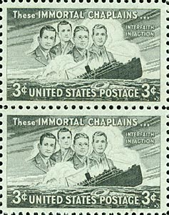USPS stamps honoring the Four Chaplains. (Courtesy: JHSGW Collections. Gift of Theresa G. Kaplan.)