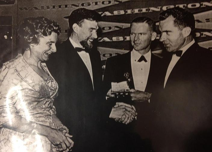 Jim Henson and Jane Nebel shake hands with then-Vice President Richard Nixon, shortly after winning their first Emmy. (Image source: Edward L. Longley Collection on Jim Henson, Special Collections in Performing Arts, University of Maryland)