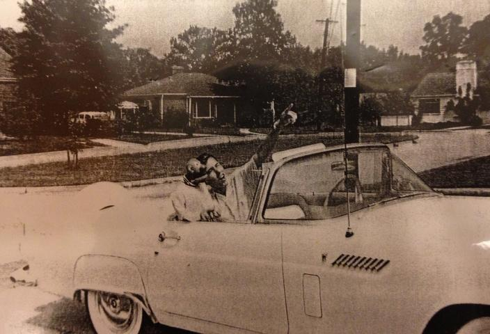 Jim Henson in 1956, seated with Sam in the white convertible Thunderbird he bought with his paychecks from puppeteering. (Source: Edward L. Longley Collection on Jim Henson, Special Collections in Performing Arts, University of Maryland)