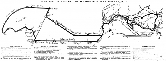Map of the 1909 Marathon course