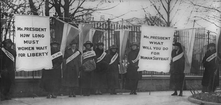 "Women suffragists picketing in front of the White house on ""College Day"" in 1917. (Source: Wikipedia)"