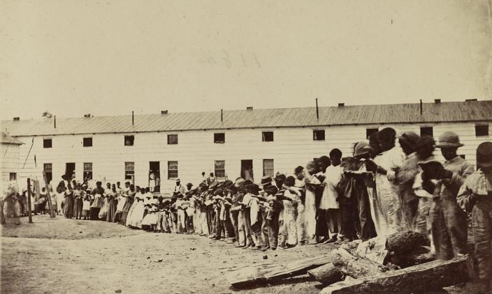 Civil War era photograph of Freedmans' Village (Source: Library of Congress))