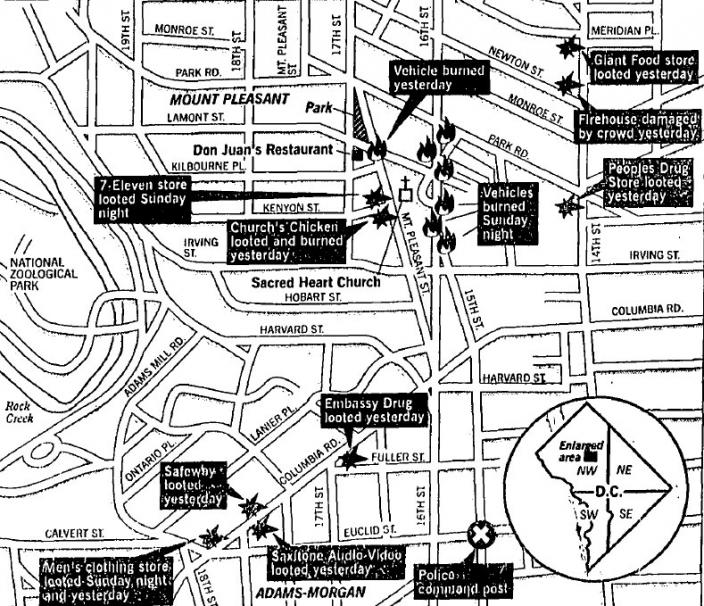 Map showing some of the major incidents of the Mount Pleasant riots as of May 7, 1991. (Source: Washington Post)