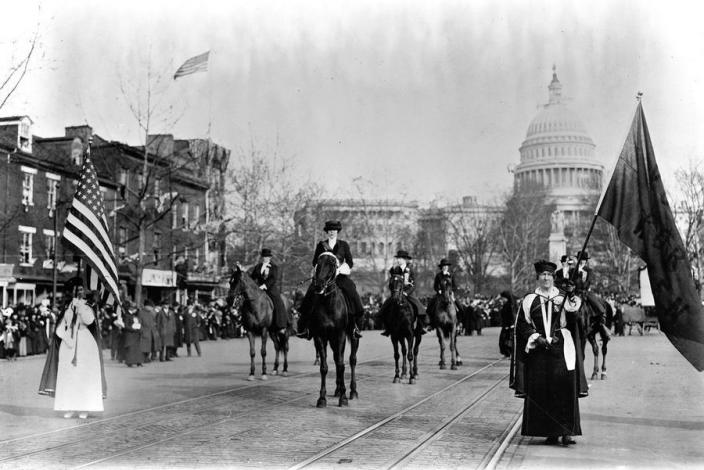 Head of Suffrage Parade (Credit: Library of Congress)