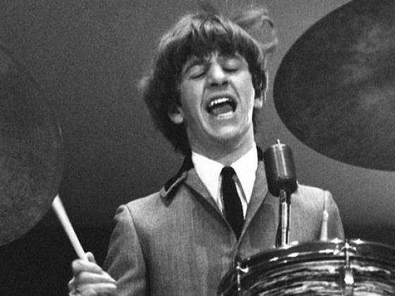 "Ringo Starr sings ""I Wanna Be Your Man"" at Washington Coliseum, Feb. 11, 1964 (Photo credit: Mike Mitchell)"