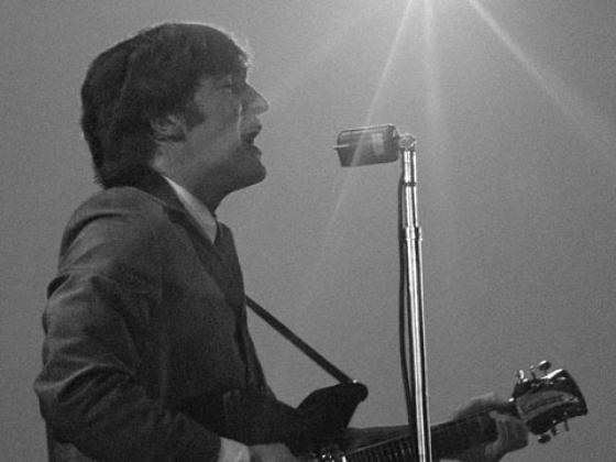 John Lennon at The Beatles' first U.S. concert, Washington Coliseum, Feb. 11, 1964 (Photo credit: Mike Mitchell)