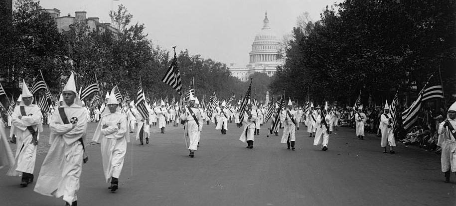 Ku Klux Klan parade in Washington in 1926 (Photo source: Library of Congress)