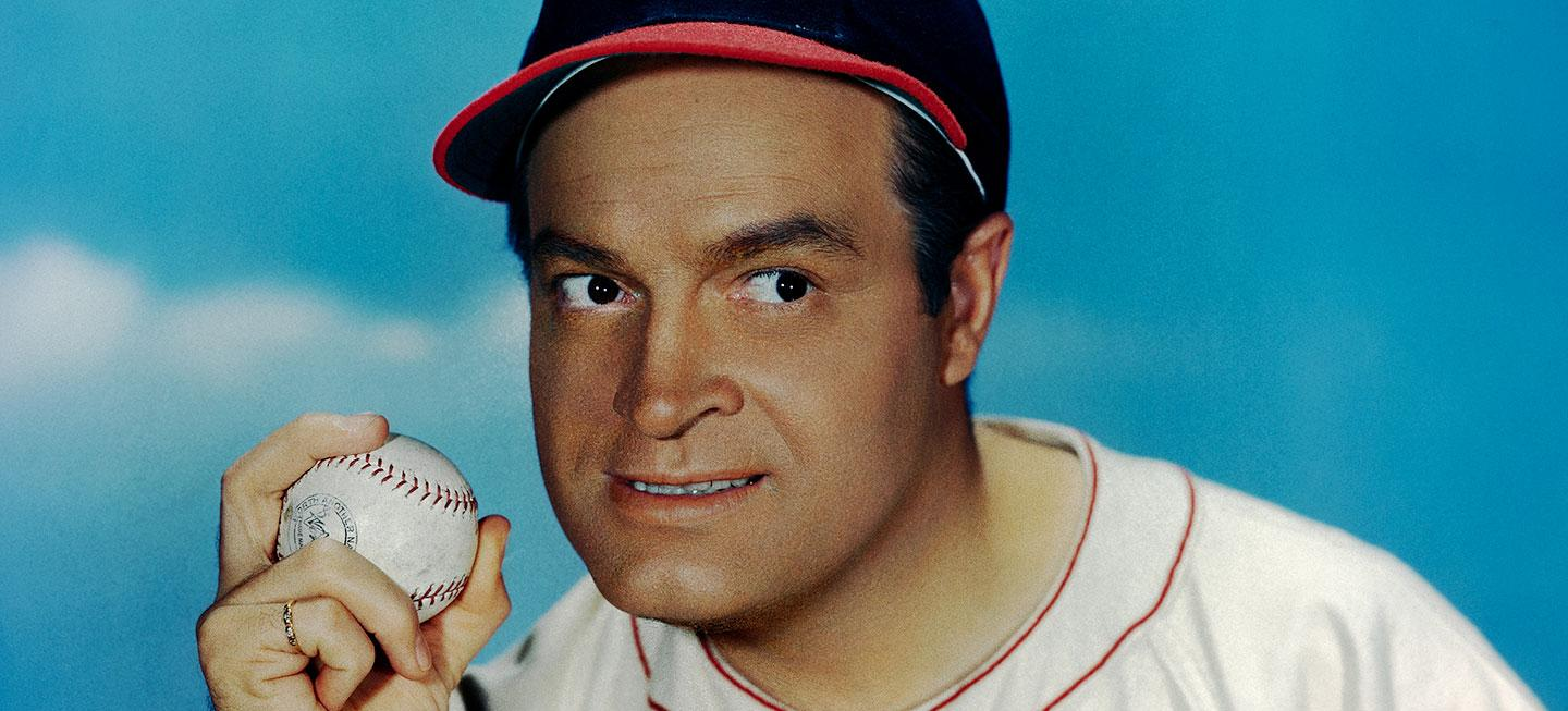 Bob Hope wearing a Cleveland Indians uniform in the 1960s. (Photo source: Bettmann/Getty)
