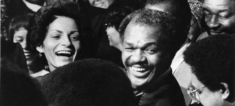 Marion Barry and his wife in a crowd.