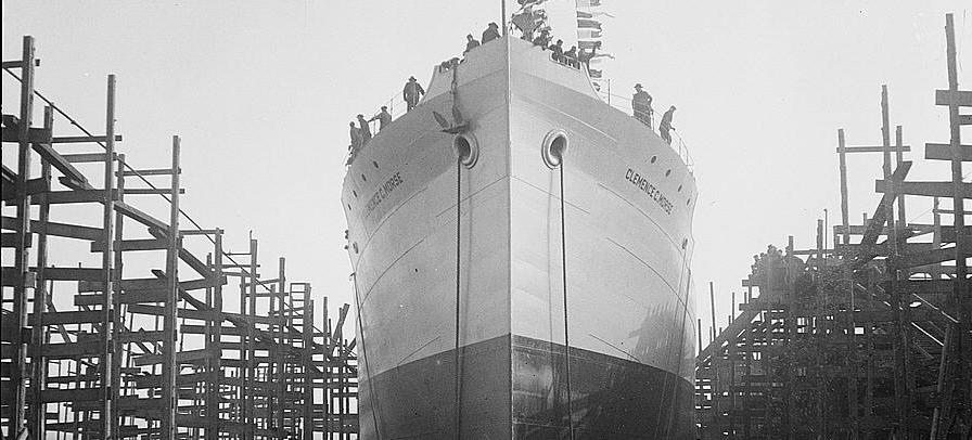 Virginia Shipbuilding Corporation Ship under construction in Alexandria (Source: Library of Congress)