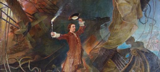 Francis Blackwell Mayer's painting of the burning of the Peggy Stewart during the Annapolis Tea Party in 1774. (Source: Maryland State Archives)