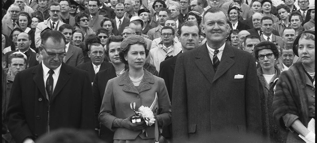 Queen Elizabeth II at University of Maryland football game, October 19, 1957. (Source: Library of Congress)