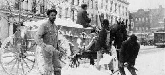 Washingtonians with outdoor jobs, like this snow-removal crew, suffered mightily during Washington's record-setting cold snap of 1899. (Photo source: Library of Congress)