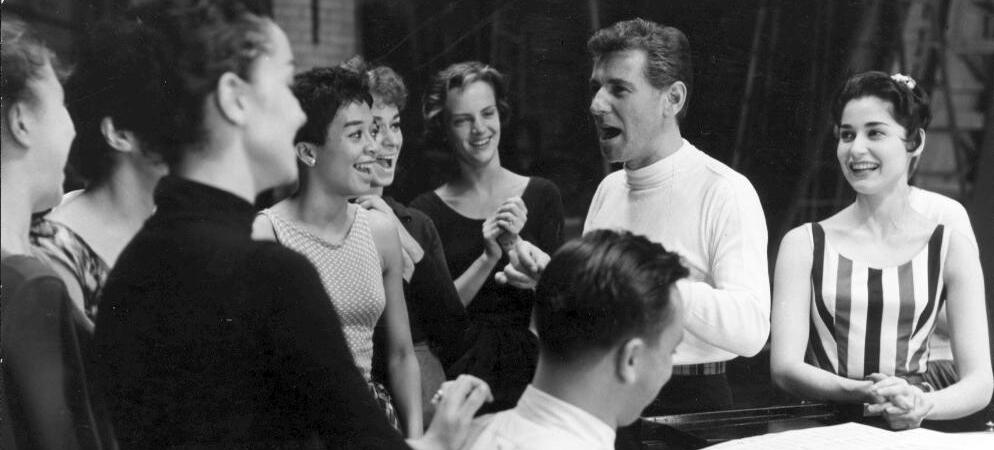 Leonard Bernstein and cast at rehearsal for West Side Story. (Library of Congress)