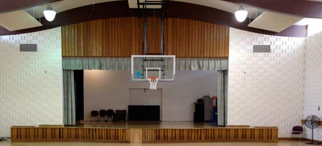 """The """"stage"""" at Wheaton Youth Center as it looks today. (Photo: Jeff Krulik)"""