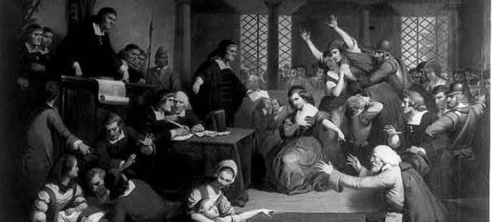 Dramatic depiction of the 1692 Salem trial. (Source: Library of Congress)