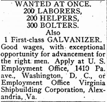 Evening Star newspaper advertisement for laborers