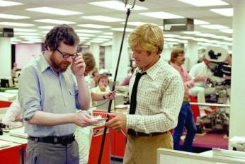Behind the scenes during the filming of All The President's Men (Source: IMDB)